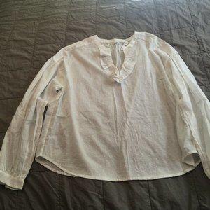 NWT Gap White Swiss Dot V Neck Ruffle Shirt Top L